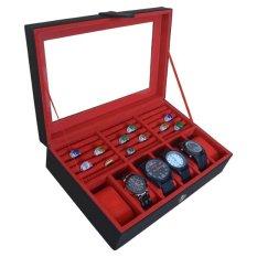 Jogja Craft Kotak Tempat Jam Tangan Kombinasi Tempat Cincin - Merah