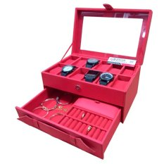 Jogja Craft - Watch Box Mix Accrsories /  Kotak Tempat Jam Tangan Kombinasi Laci Tempat Perhiasan - Red