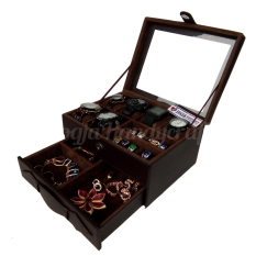 Jogja Craft - Watch Box Mix Jewelry / Kotak Tempat Jam Tangan Isi 6 dan Perhiasan Susun (Brown)
