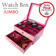 Jogja Craft - Watch Box Mix Jewelry / Kotak Tempat Jam Tangan Isi 6 dan Perhiasan Susun (Pink)