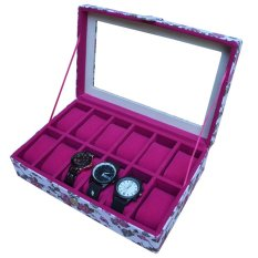 Jogja Craft White Floral Watch Box / Tempat Jam /  Kotak Jam Tangan Isi 12