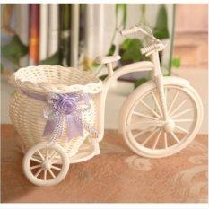 JOR Rotan Becak Sepeda Keranjang Bunga Vas Storage Garden Pernikahan Dekorasi Pesta Kantor Kamar Tidur Candy Gift Ungu-Intl