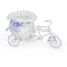 JUMPOVER Handmade Bunga Rotan Becak Sepeda Keranjang untuk Bunga Vas Penyimpanan Dekorasi (Putih dan Ungu)-Intl