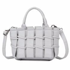 Diskon Produk Kgs Tas Casual Wanita Woven Fence Shoulder Bag Abu