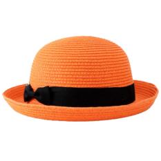 Korea Musim Panas Anak-anak dan Wanita Jazz Topi Jerami Topi Pantai Sun Teduh Cap (Oranye)-Intl