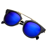 Spesifikasi Lady Wanita Outdoor Round Glass Metal Casing Full Frame Sunglasses Lensa Biru Online