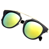 Beli Lady Wanita Outdoor Round Glass Metal Casing Full Frame Sunglasses Emas Lensa Oem