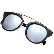 Kualitas Lady Women S Outdoor Round Glass Metal Casing Full Frame Sunglasses Silver Lens Oem