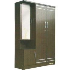 Lemari Pakaian 3 Pintu Tempat Baju Kayu K 552 Cokelat