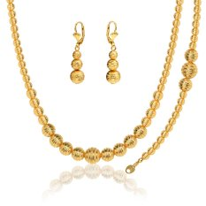 Promo Lovely Ball Set Stamp 18K Real Gold Plated Platinum Plated Trendy Party Necklace Earrings Jewelry Sets For Women Nb60076 Dodo