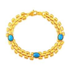Mewah 18 K Emas Emas Disepuh Pria Perhiasan Rantai Gelang Perhiasan Fashion Berkualitas Tinggi Hadiah untuk