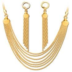 Mewah Rantai Kalung Panjang Rumbai Earring Perhiasan Set 18 K Emas Berlapis Fashion Rantai Kalung Earrings Pengantin Hadiah Lady NB60078