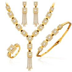 Diskon Luxury Jewelry Set Europe Style 18K Gold Plated Simulated Diamondnecklaces Bracelet Ring And Earrings Gift Nb60082