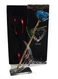 Diskon Kemewahan Ungu Naik Dicelupkan Ke Dalam 24 K Emas Foil Elegant Bunga Decor Free Box Stand Tiongkok