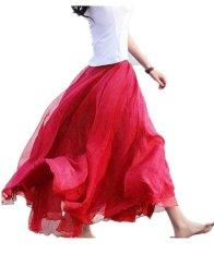 Harga Maxi Panjang Bohemian Mengembalikan Wanita Shinning Chiffon Long Skirt Anggur Merah Dan Spesifikasinya