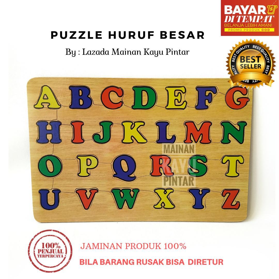 Mainan Kayu Pintar Puzzle Kayu Alfabet Huruf Besar