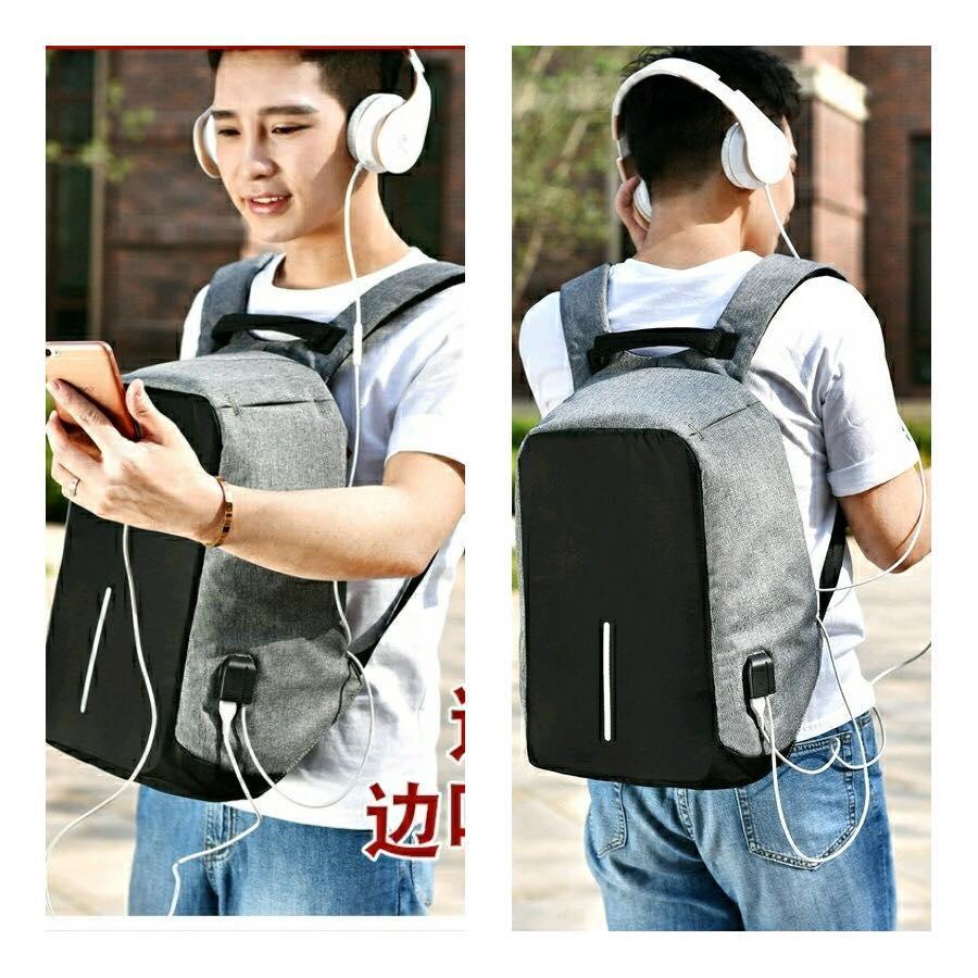 Smart Backpack Anti Thief Tas Ransel Model XD Design Bonus Kabel USB Extention dan Kabel Audio Extention