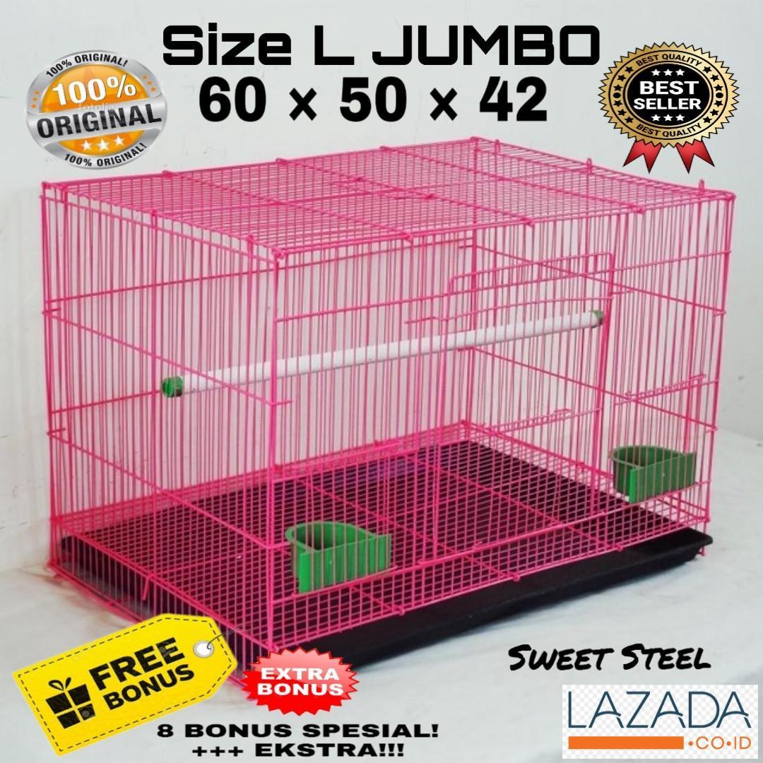Kandang Kucing Anjing Besi Lipat Besar Size L Original - Warna Random