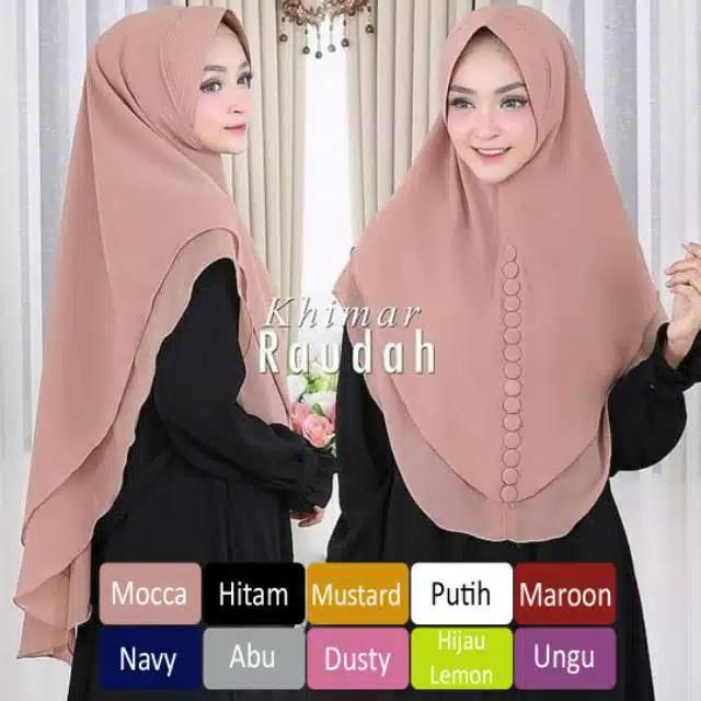 Jilbab Hijab Instan Khimar Raudah Syari Sifon Terpopuler 2 Layer Oval Syari Termurah