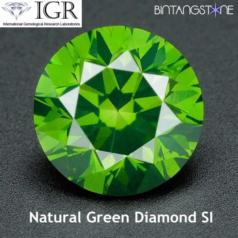 Green Diamond 1.8 Mm 0.025 Cts Clarity Si-I Certified Berlian Asli Sertifikat Igr By Bintang Stone.