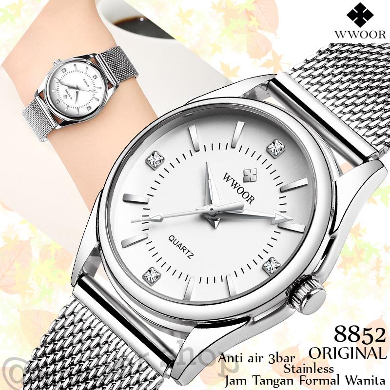 JAM TANGAN WANITA WWOOR 8852 SILVER WHITE Strap Rantai Mesh Tahan Air Mewah Trendi Original