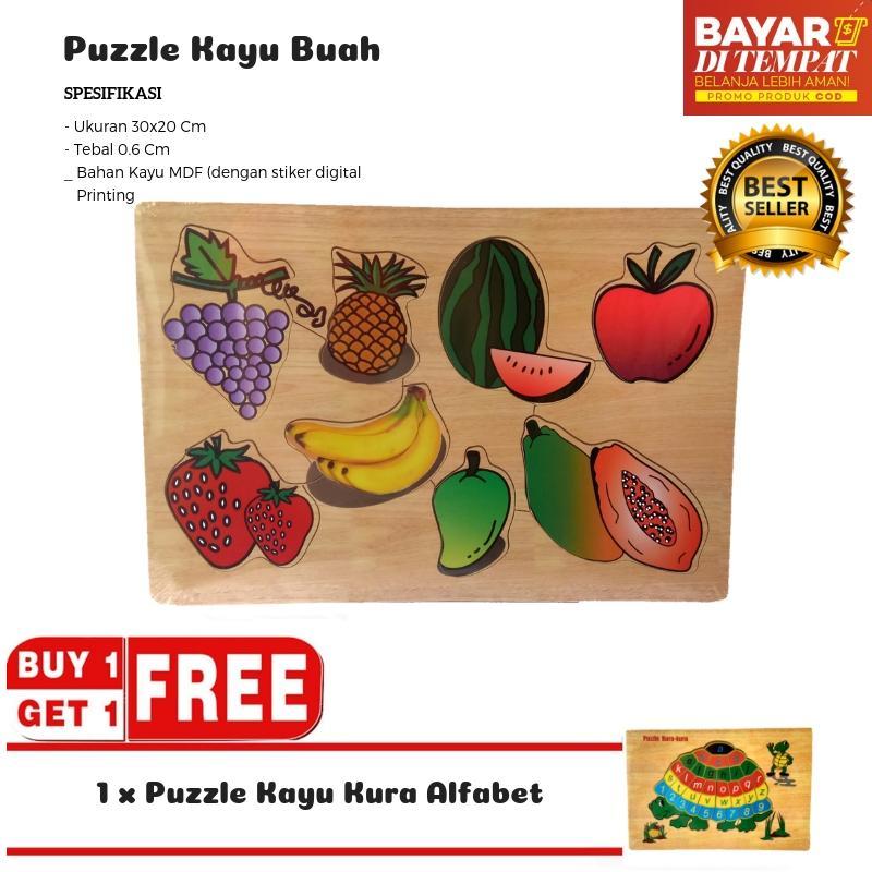 Mainan Kayu Pintar Buy 1 Get 1 Puzzle Kayu Buah / Puzzle Kayu Kura Alfabet