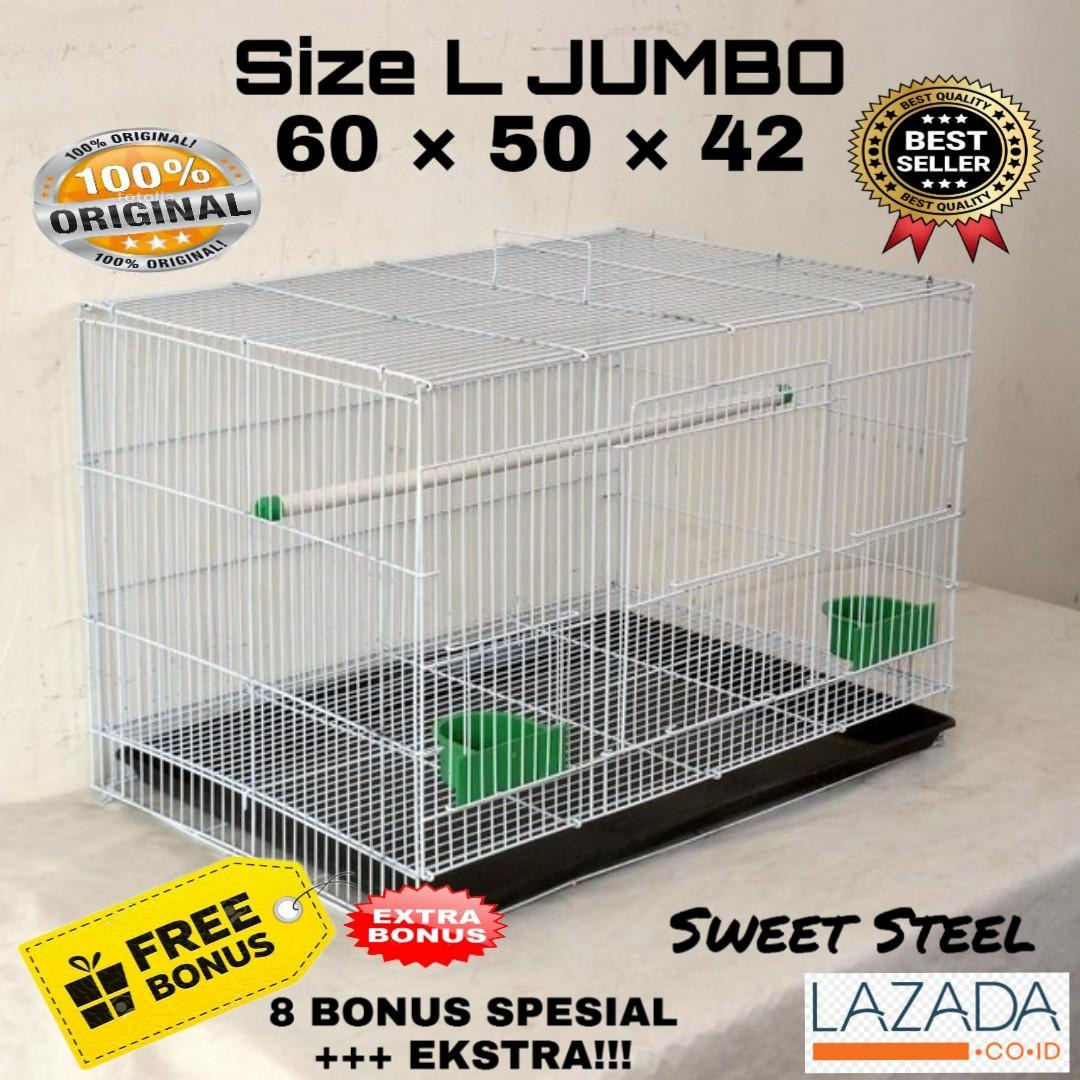 Kandang Hewan Besar Besi Lipat Size L 60X50X42 Original Sweet Kucing Kelinci Anjing Sugar Glider Musang