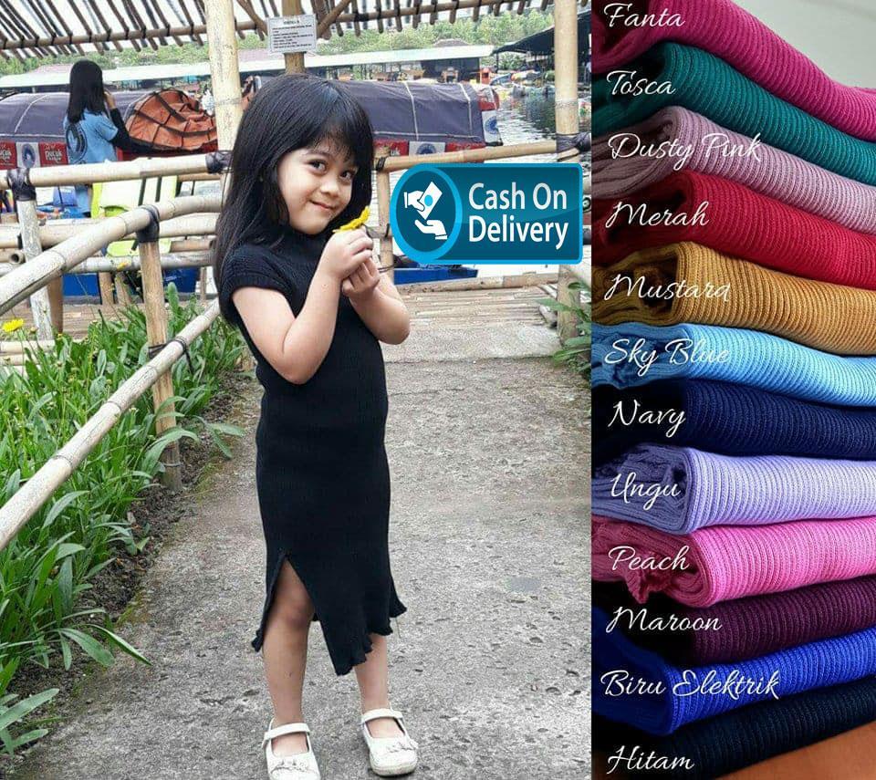 Adiba Slit Dress Baju Rajut Anak anak dress murah atasan panjang wanita pakaian Anak perempuan 2