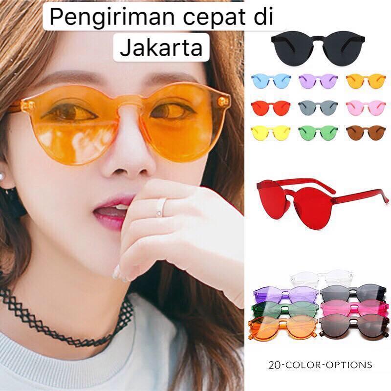 [bisa Cod] A3 Kacamata Hitam Fashion Wanita Model Simple Transparan Tanpa Frame Untuk Pasangan By Fashionista.id.