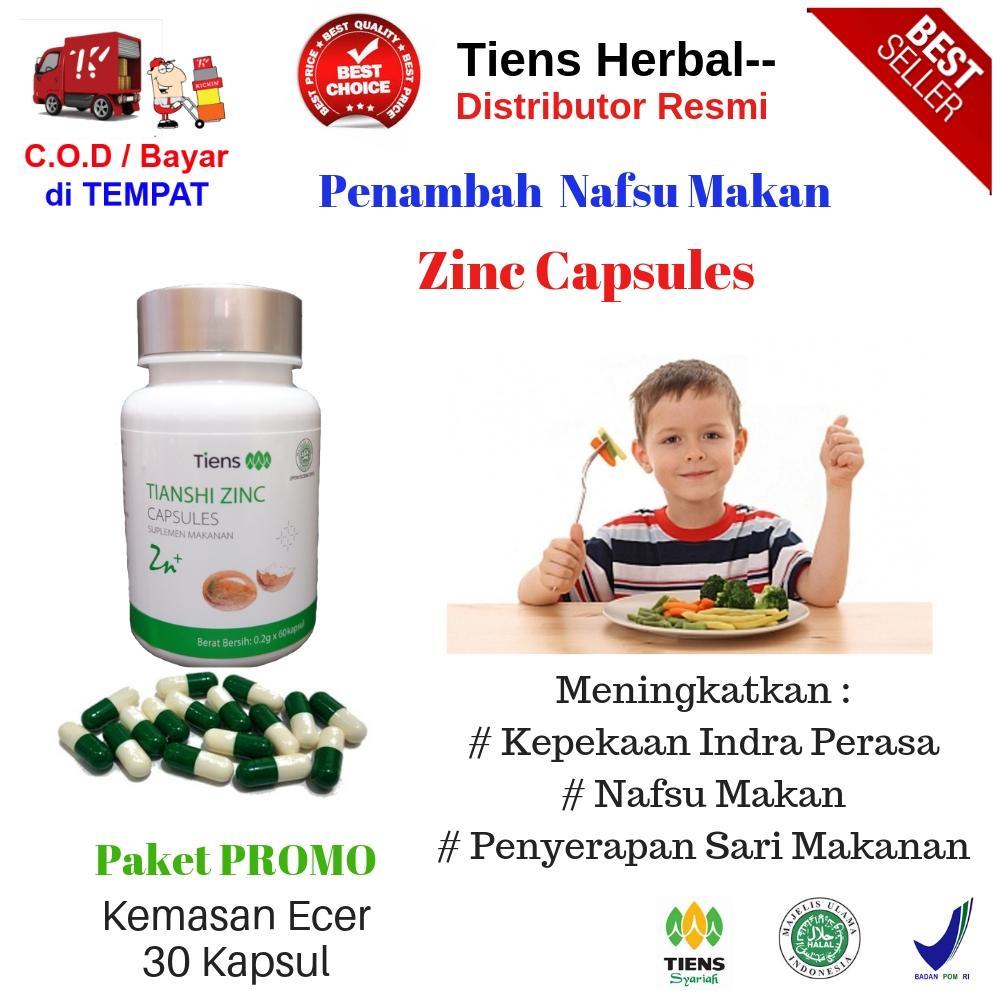 Tiens Herbal-- Penambah Nafsu Makan / Paket Hemat Kemasan Ecer Zinc 30 Kapsul + Free Member Card Th-- By Tiens Herbal--.
