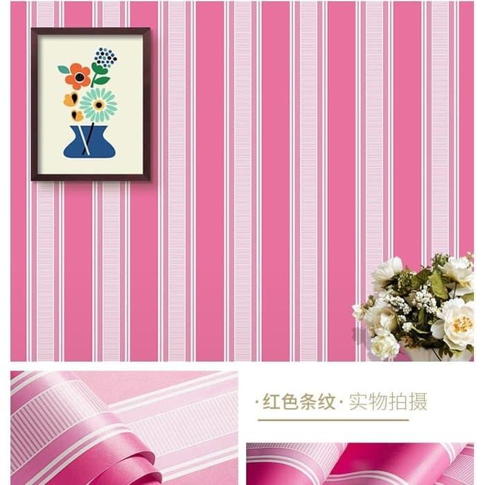 Promo Wallpaper Sticker Pink Salur Garis Putih Wps066 Wallpaper Dinding Kamar Anak Ruang Tamu Dapur Rumah Sabby Pink Jual Wallpaper Premium Murah Import Lazada Indonesia