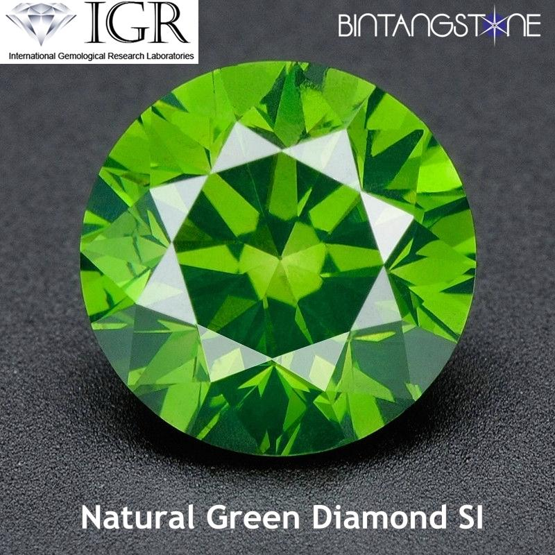 Green Diamond 1.5 Mm 0.015 Cts Clarity Si-I Certified Berlian Asli Sertifikat Igr By Bintang Stone.