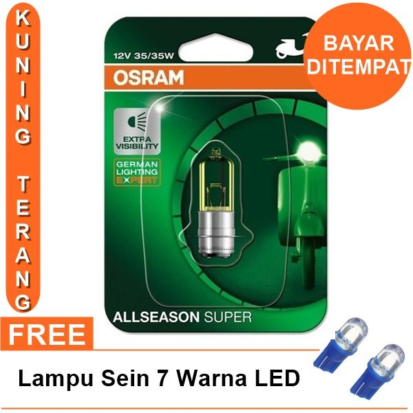 Osram Lampu Depan Motor Honda Beat Street 2017-On - 62337ALS All Season Super + Free Lampu Sein LED 7 Warna