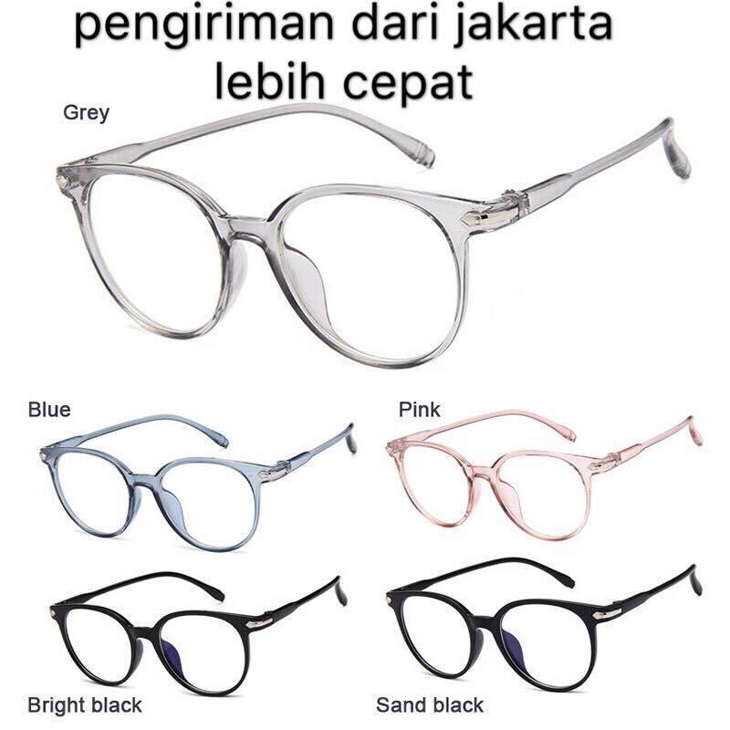 [bisa Cod] A1 Kacamata Wanita Pria Frame Ringan Sunglasses Anti Radiasi Lensa Transparan By Fashionista.id.