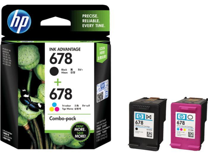 HP 678 Tri-clr/Blk Ink Crtg Combo 2-Pk