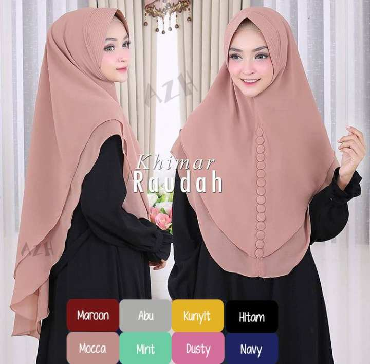 Hijab Jilbab Khimar Syari Ceruti Premium Raudah 2 Layer