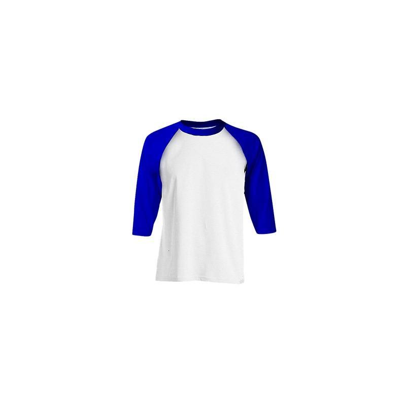 Kaos Polos Raglan Combed 20s Putih Biru