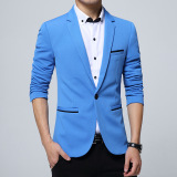 Harga Pria Slim Fit Fashion Cotton Blazer Suit Jacket Black Blue Khaki Plus Ukuran M Untuk 5Xl Male Blazers Mantel Biru Muda Baru