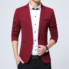 Beli Pria Slim Fit Fashion Cotton Blazer Suit Jacket Black Blue Khaki Plus Ukuran M Untuk 5Xl Male Blazers Mantel Merah Cicil