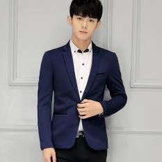 Dapatkan Segera Pria Ramping Pas Plus Ukuran Fashion Blazer Kasual Pria Formal Bisnis Blazers Biru Dongker