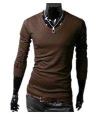 Beli Pria Slim Fit Solid Color Stylish V Neck T Shirt Lengan Panjang Tee Tops Kopi Di Tiongkok