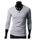 Beli Pria Slim Fit Solid Color Stylish V Neck T Shirt Lengan Panjang Tee Tops Light Grey Terbaru