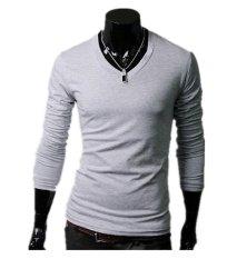Beli Pria Slim Fit Solid Color Stylish V Neck T Shirt Lengan Panjang Tee Tops Light Grey Di Tiongkok