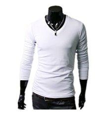 Pria Slim Fit Solid Color Stylish V Neck T Shirt Lengan Panjang Tee Tops Putih Terbaru