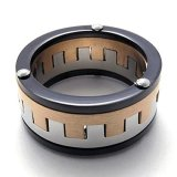 Jual Mens Cincin Stainless Steel Band Hitam Silver Gold Ori