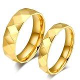Toko Mens Womens Cincin Stainless Steel Gold Pertunangan Janji Wave Ukuran 5 Sampai 10 Oem Di Tiongkok