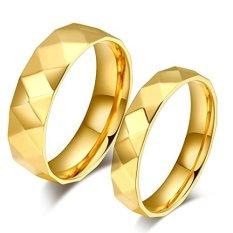 Beli Mens Womens Cincin Stainless Steel Gold Pertunangan Janji Wave Ukuran 5 Sampai 10 Cicil