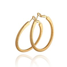 Gadis Wanita Metalik Anting-anting Lingkaran Bulat Anting-anting Lingkaran 18 Karat Gold Fil