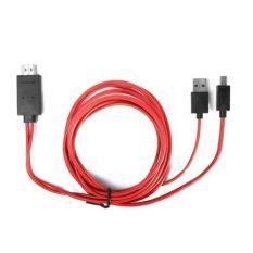 MHL Micro USB 1080 P HDMI HDTV AV TV Adaptor Kabel Cord untuk HTC Droid DNA Rezound (Merah)