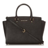 Toko Michael Kors Selma Large Saffiano Leather Satchel Hitam Online Di Indonesia
